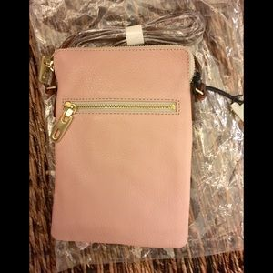 Gap leather crossbody in pink and gray